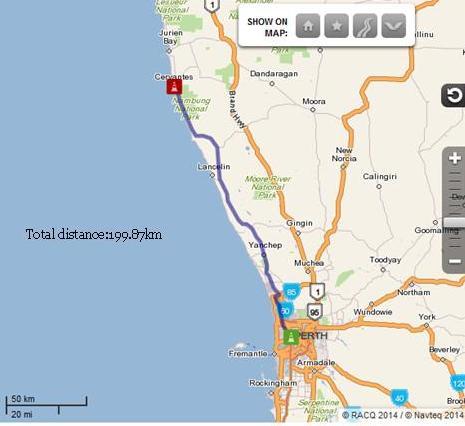Perth to Cervantes