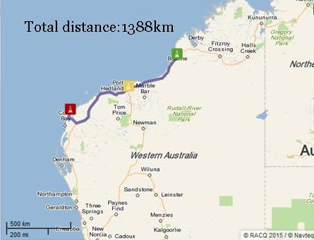 Broome to Exmouth map