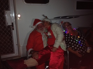 Glenys getting naughty with Santa (Bert)