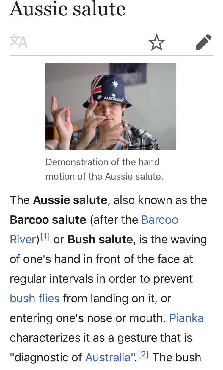 Wikipedia excerpt about the Aussie Bush Salute